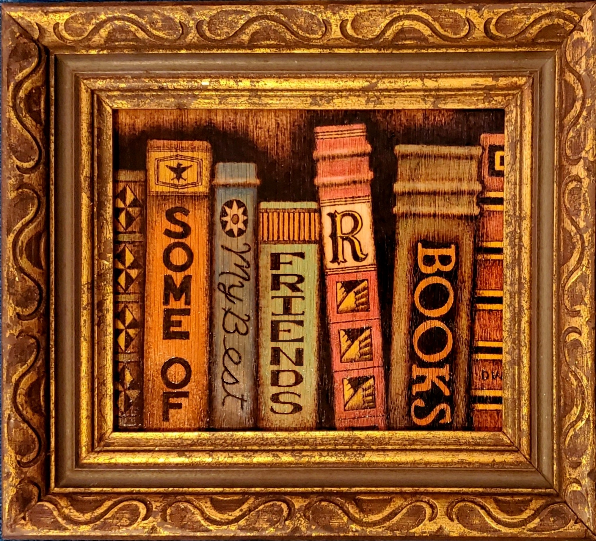 Pyrographic image of Books on bookshelf by Don White artist