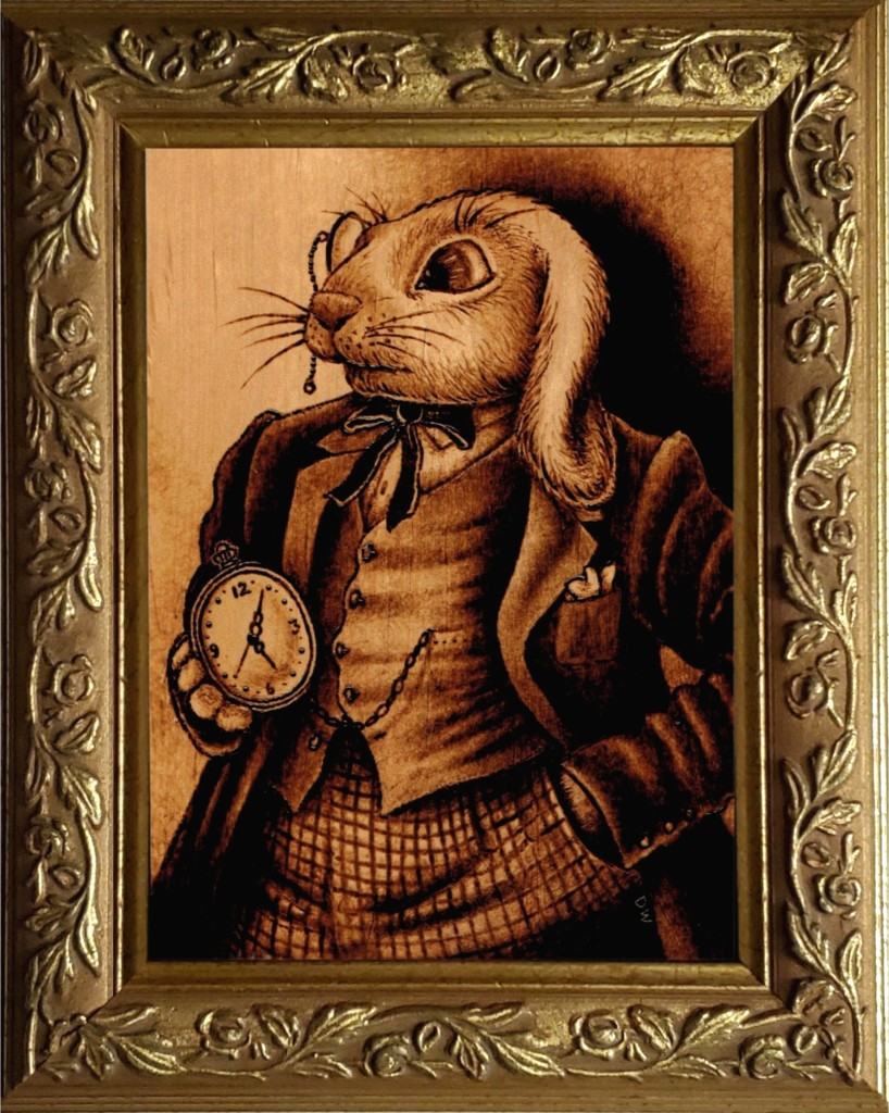 The White Rabbit in a dapper suit, sporting a monocle, and holding a pocket watch.