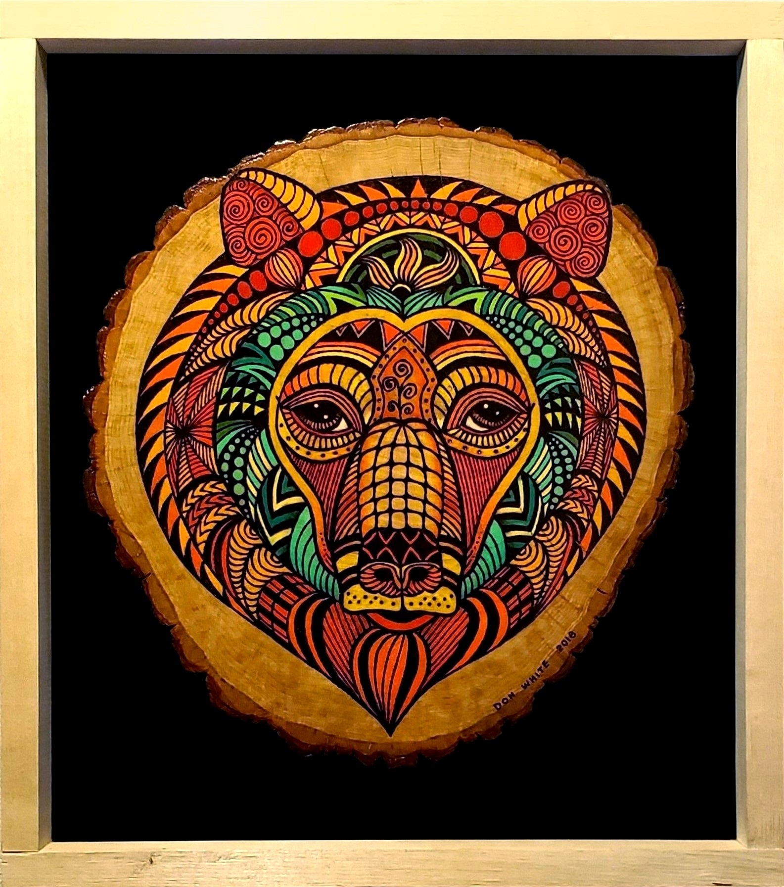 Don White's pyrographic image of a primitive bear image