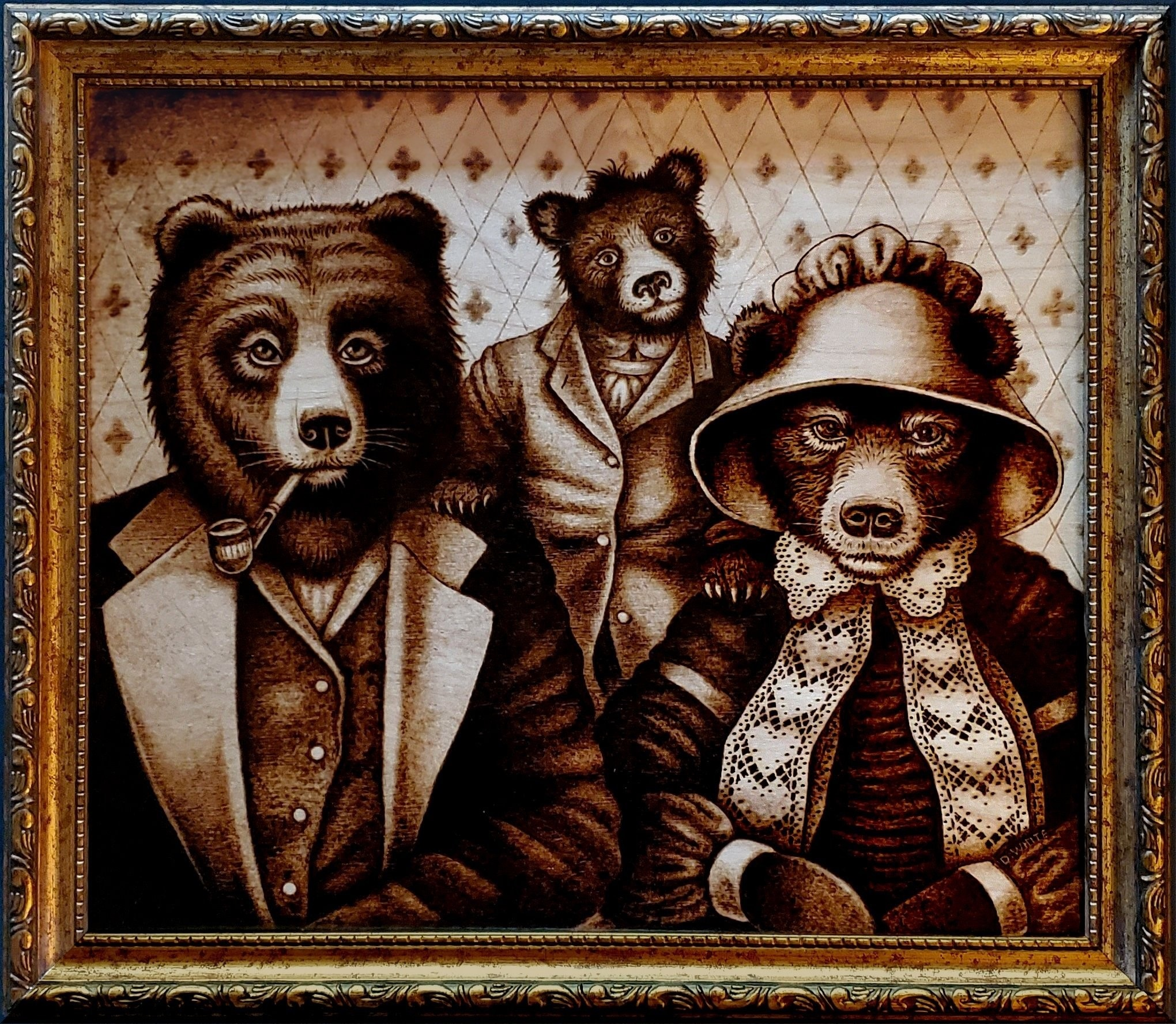 Woodburned image of three bears family, by Don White