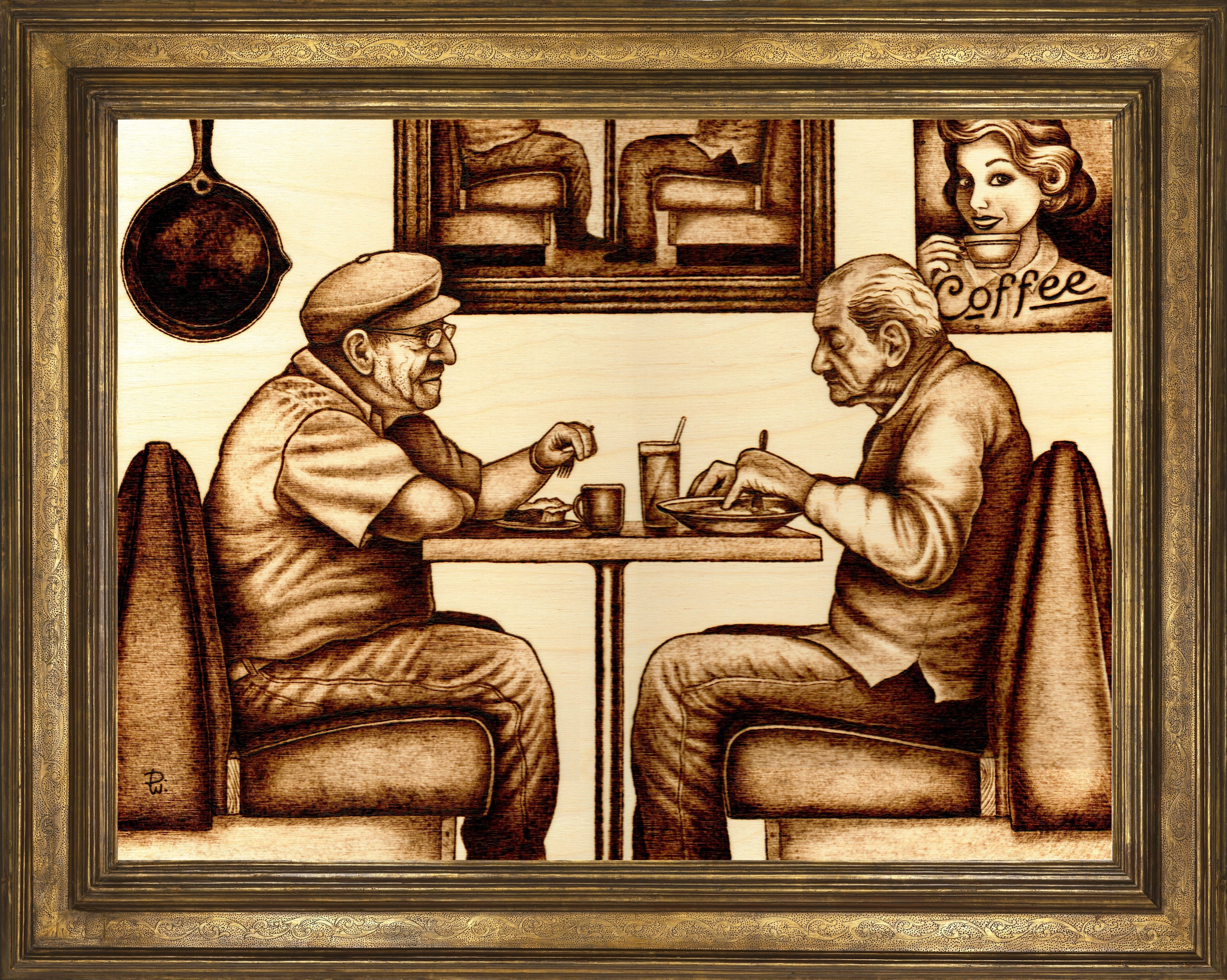 pyrography on wood of two old men eating