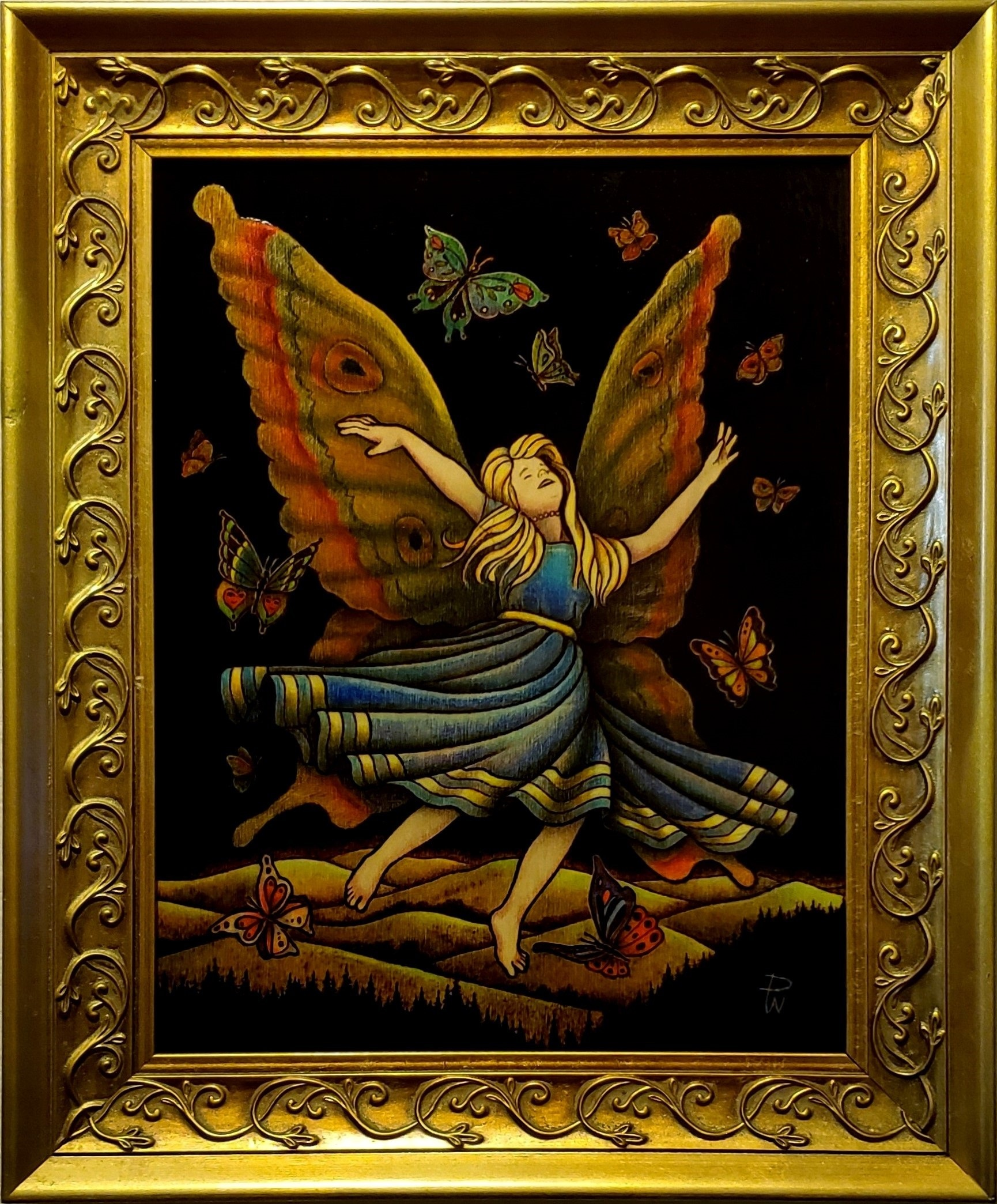 Girl with butterfly wings flying at night - pyrography on wood by Don White
