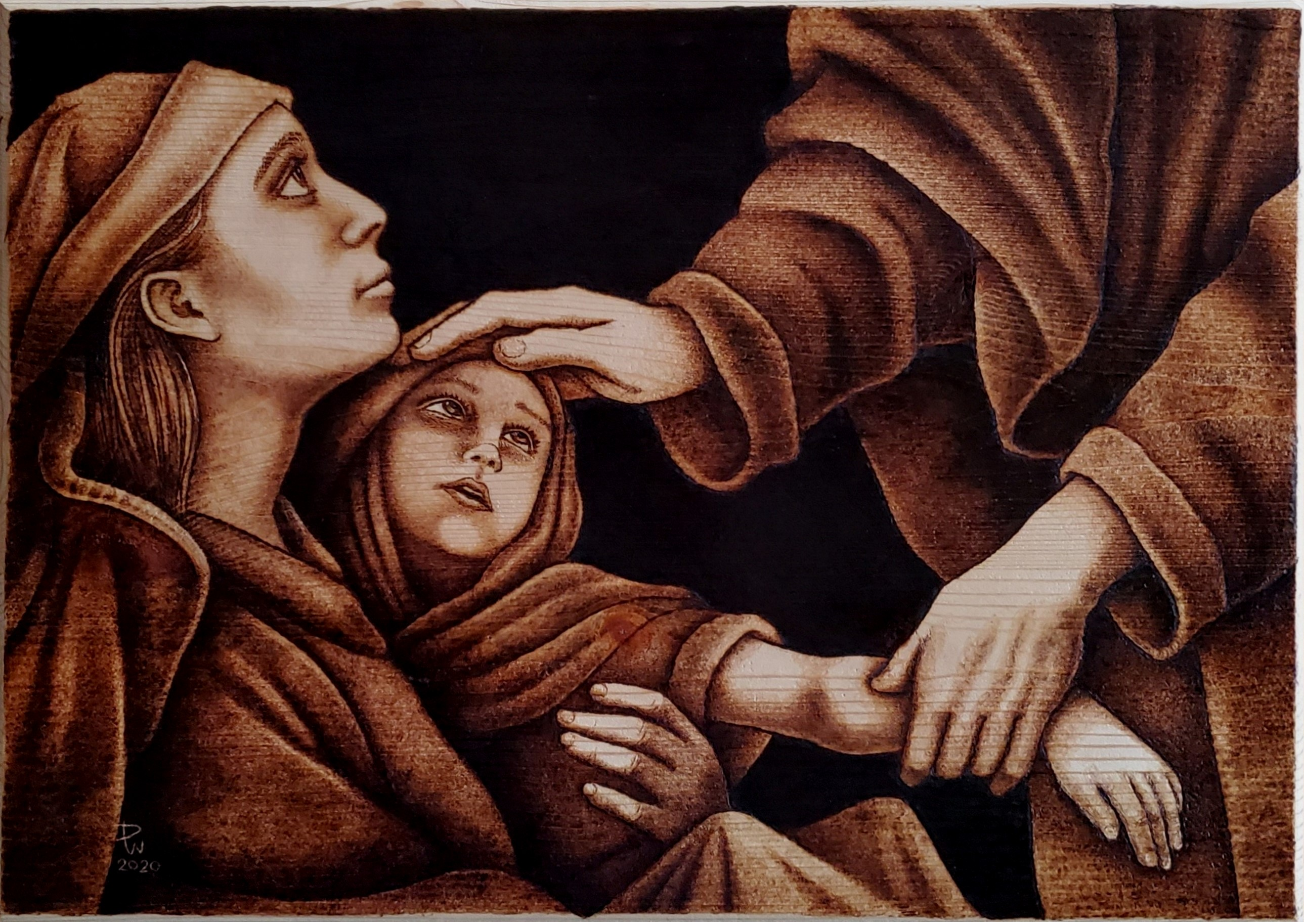 Woodburned image of Christ healing a young boy