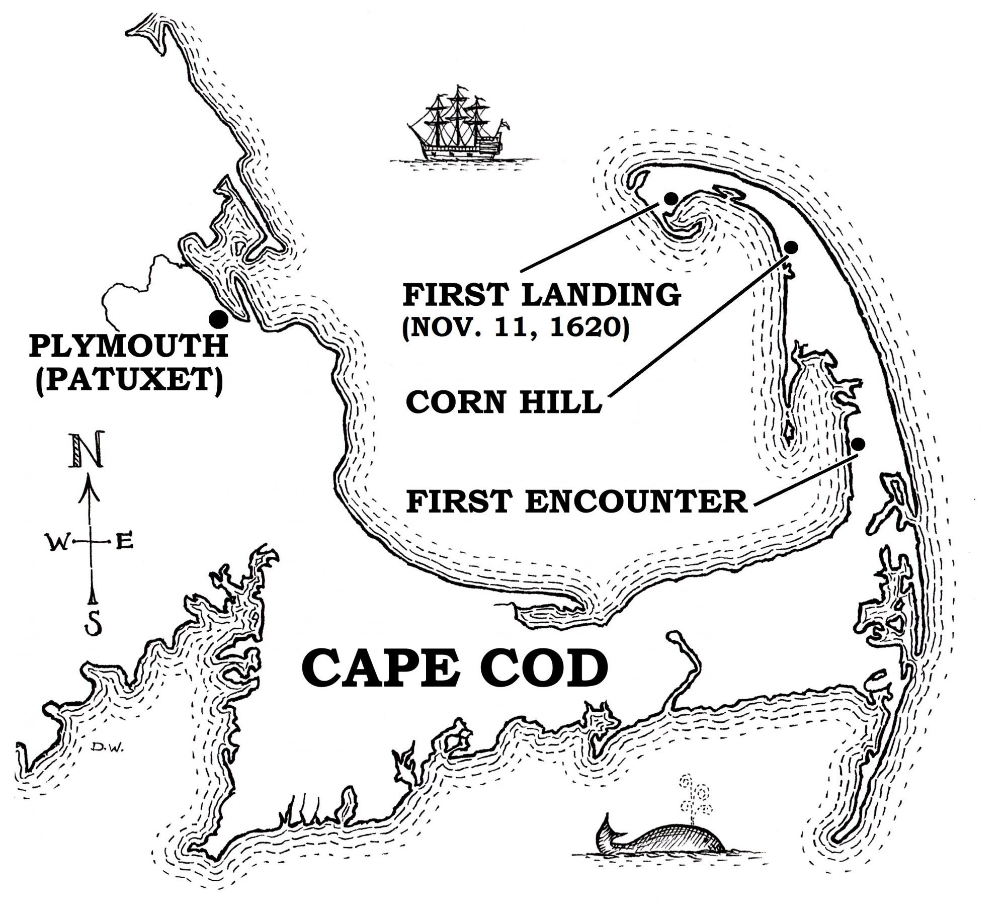 Drawing of Cape Cod as it was when the Pilgrims landed on the Mayflower.