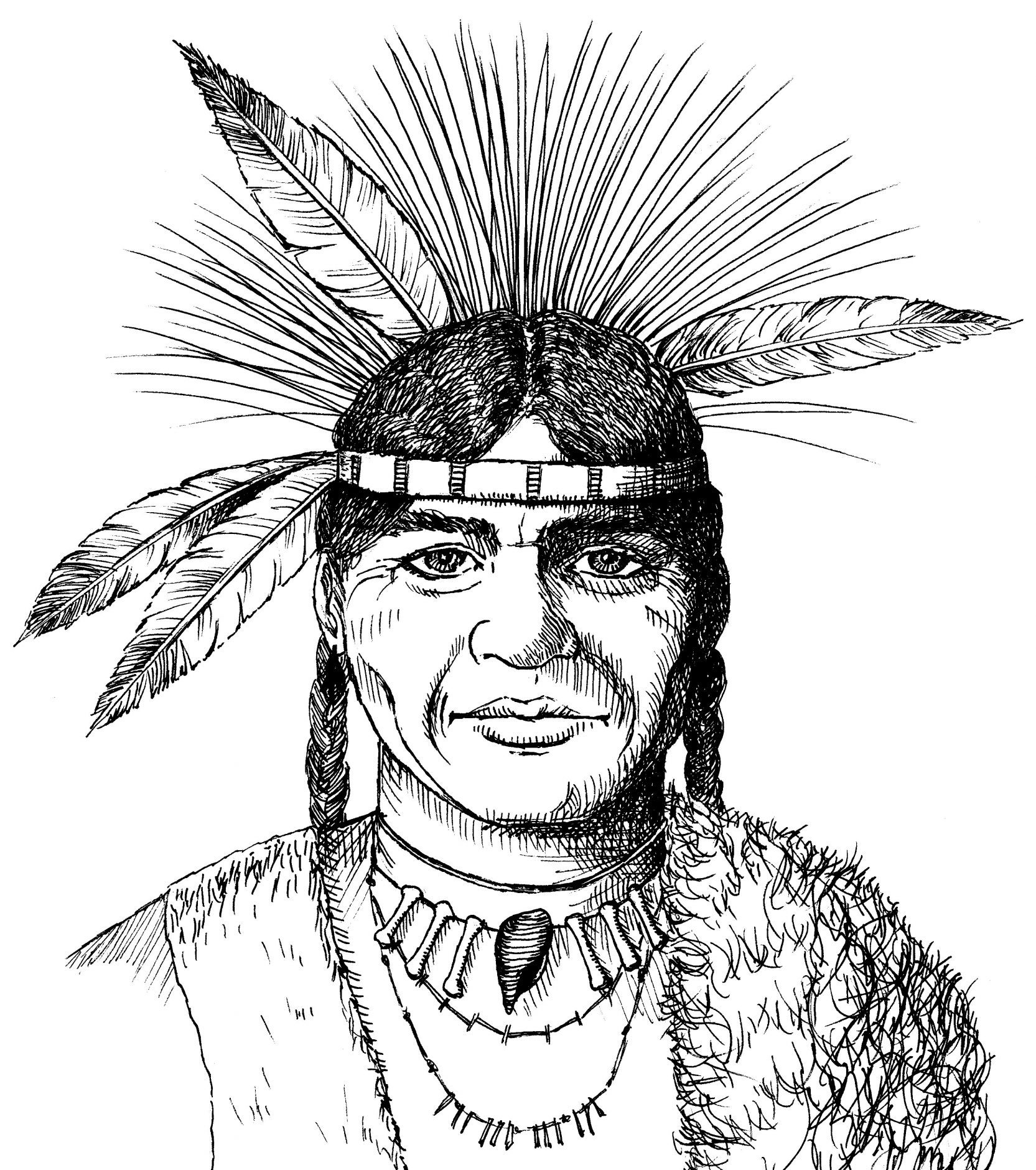 Ink sketch of Chief Massasoit, friend of Pilgrim leader William Bradford of Plymouth Massachusetts.
