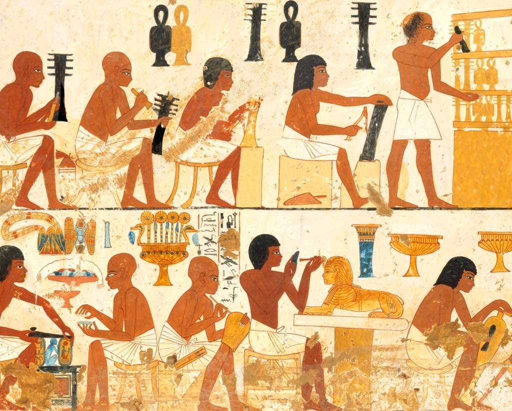 Egyptian artisans and craftsmen in the tomb of Nebamun, c.1390 BC.