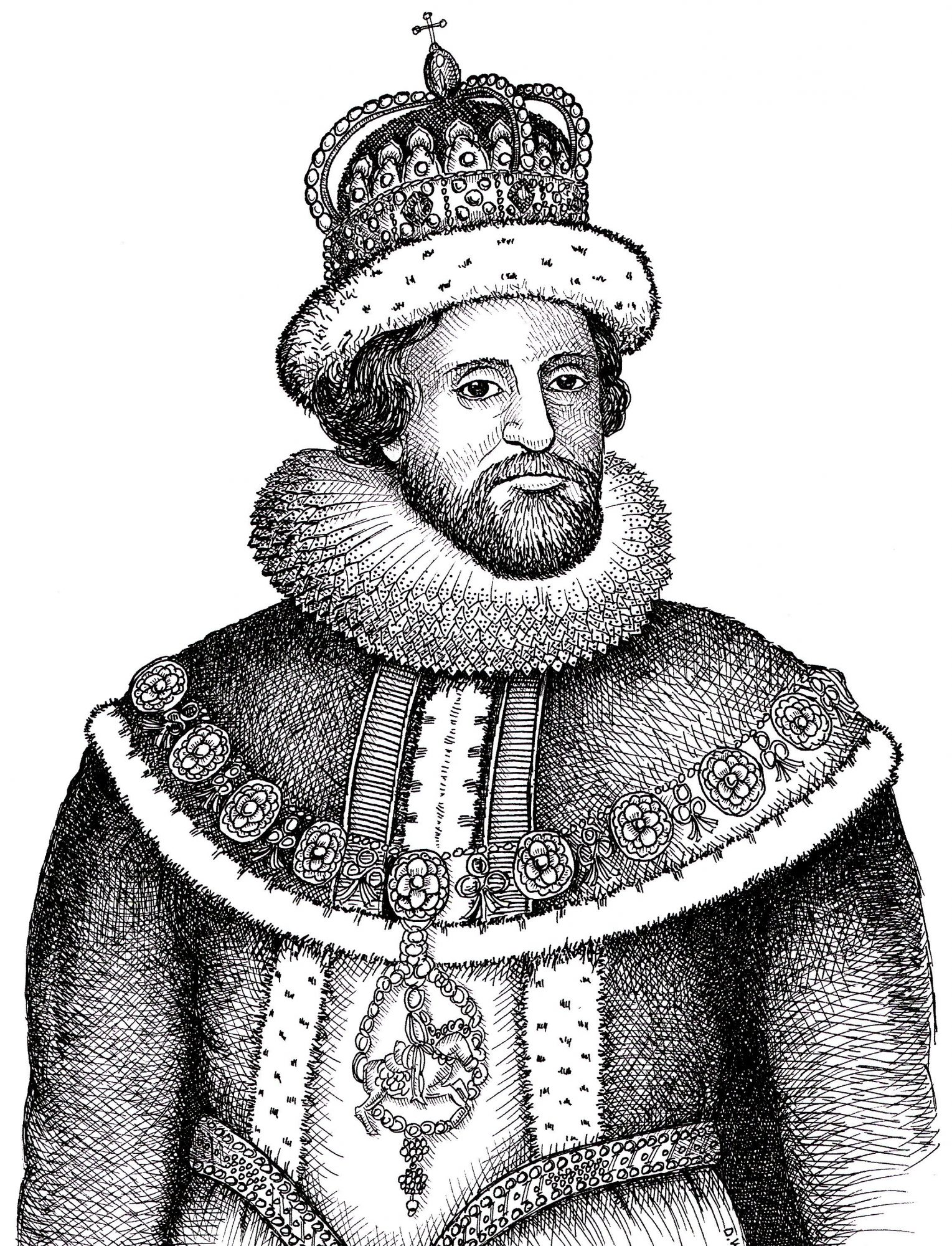 Pen and ink drawing of King James of England (1566 – 1625)