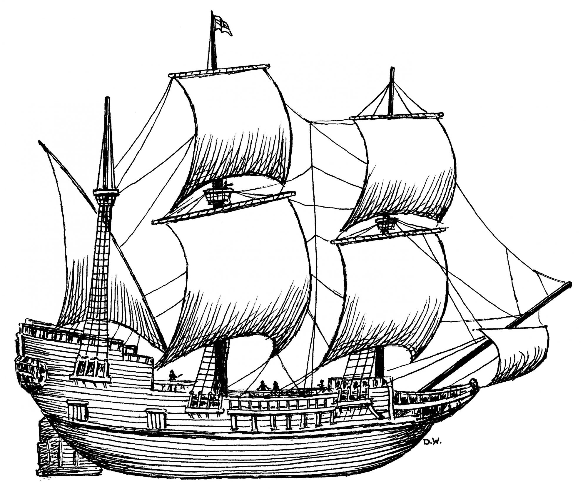 Side view of the Mayflower, which took Pilgrims to New England in 1620.