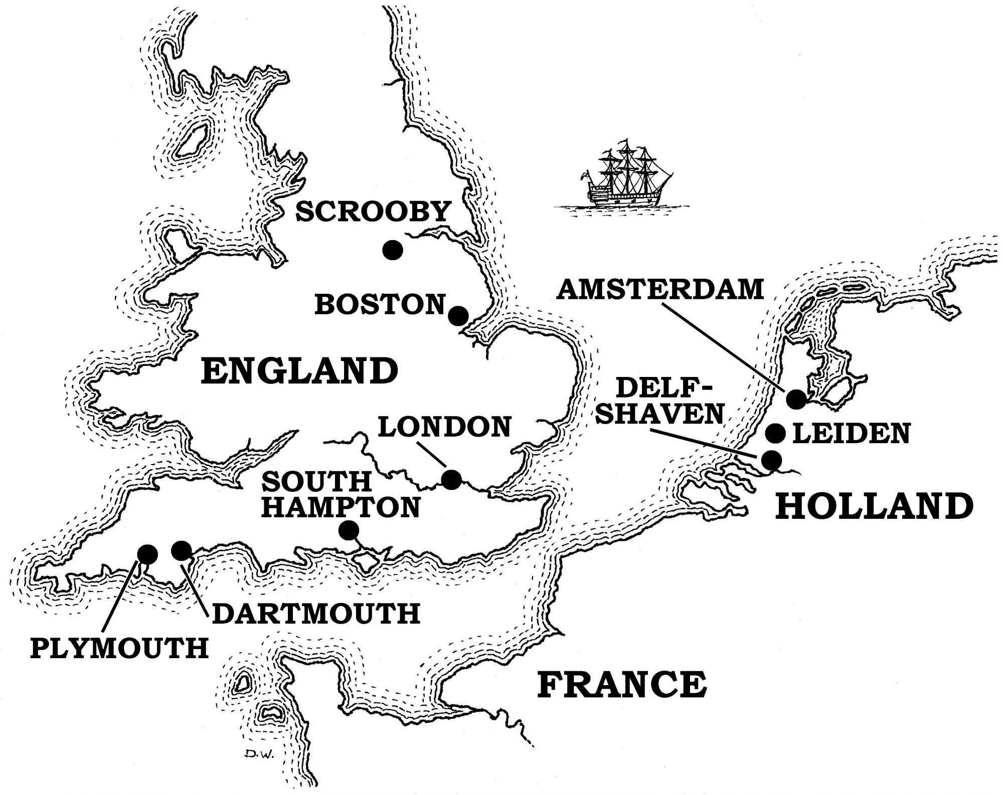 Map of the sea between England and Holland, where the Pilgrims once emigrated.