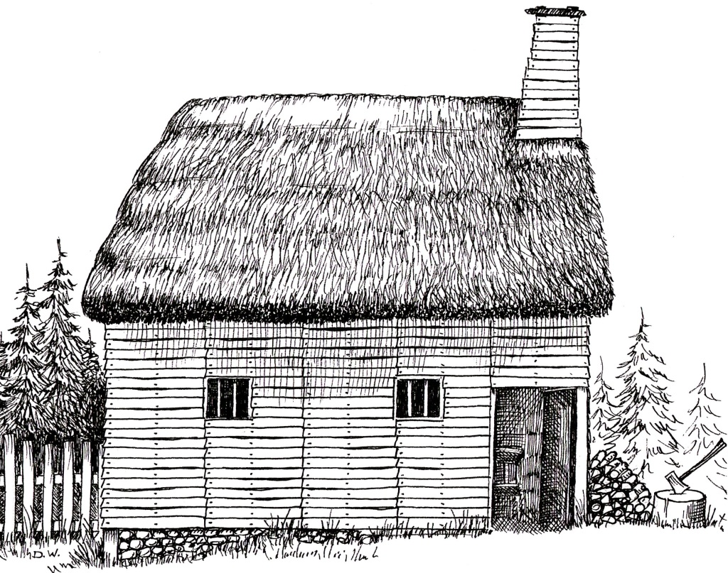 Don White's pen and ink illustration of a colonial home in Plymouth, Massachusetts.