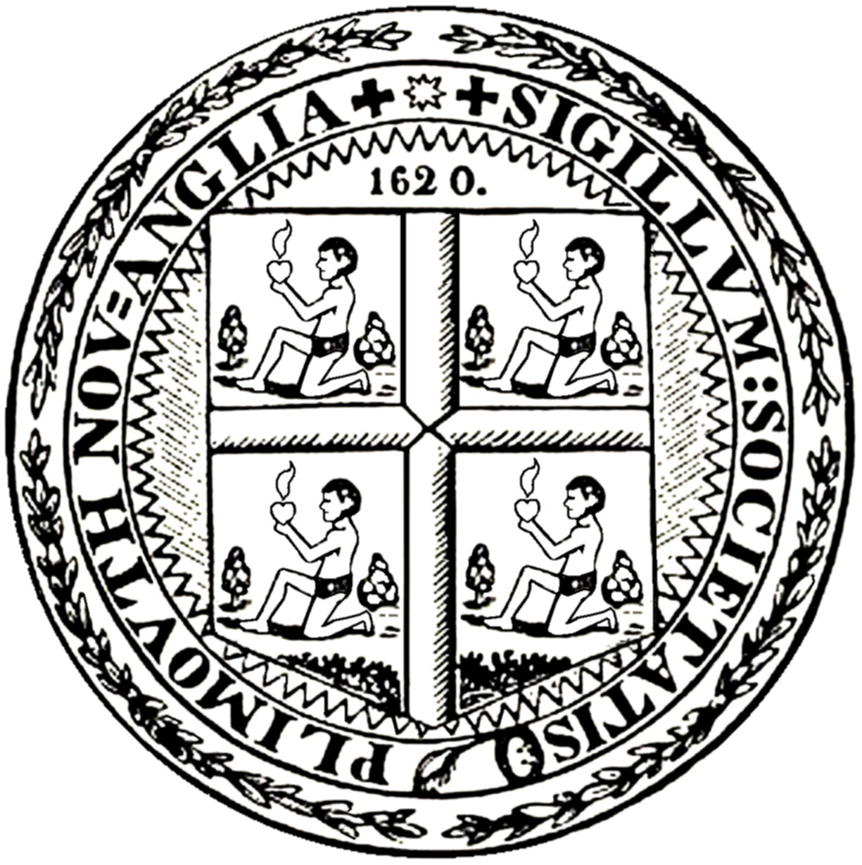 In drawing of the seal of Plymouth Massachusetts.