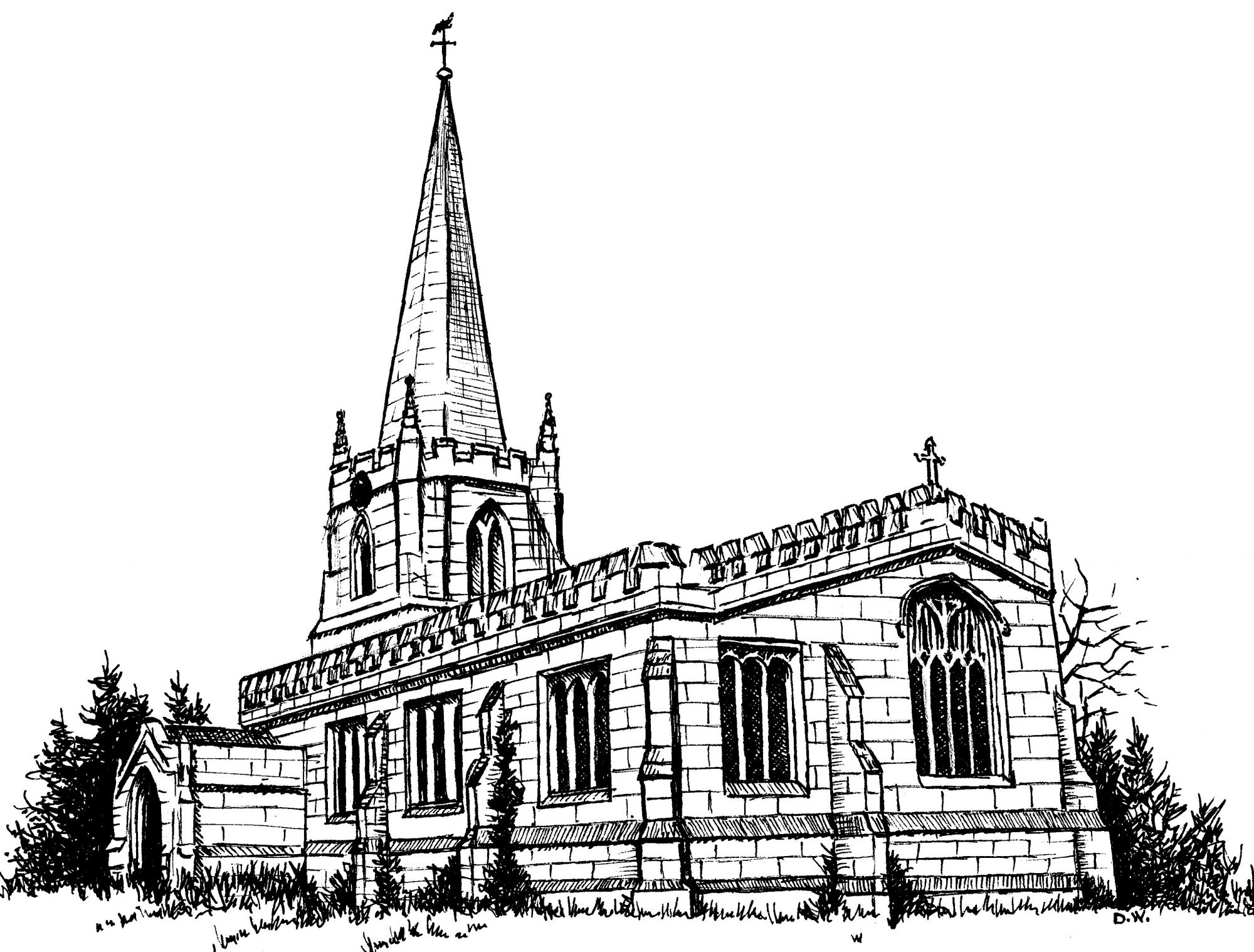 In drawing of Saint Wilfrid church in Nottinghamshire, where William Brewster (Pilgrim leader) once worshiped.