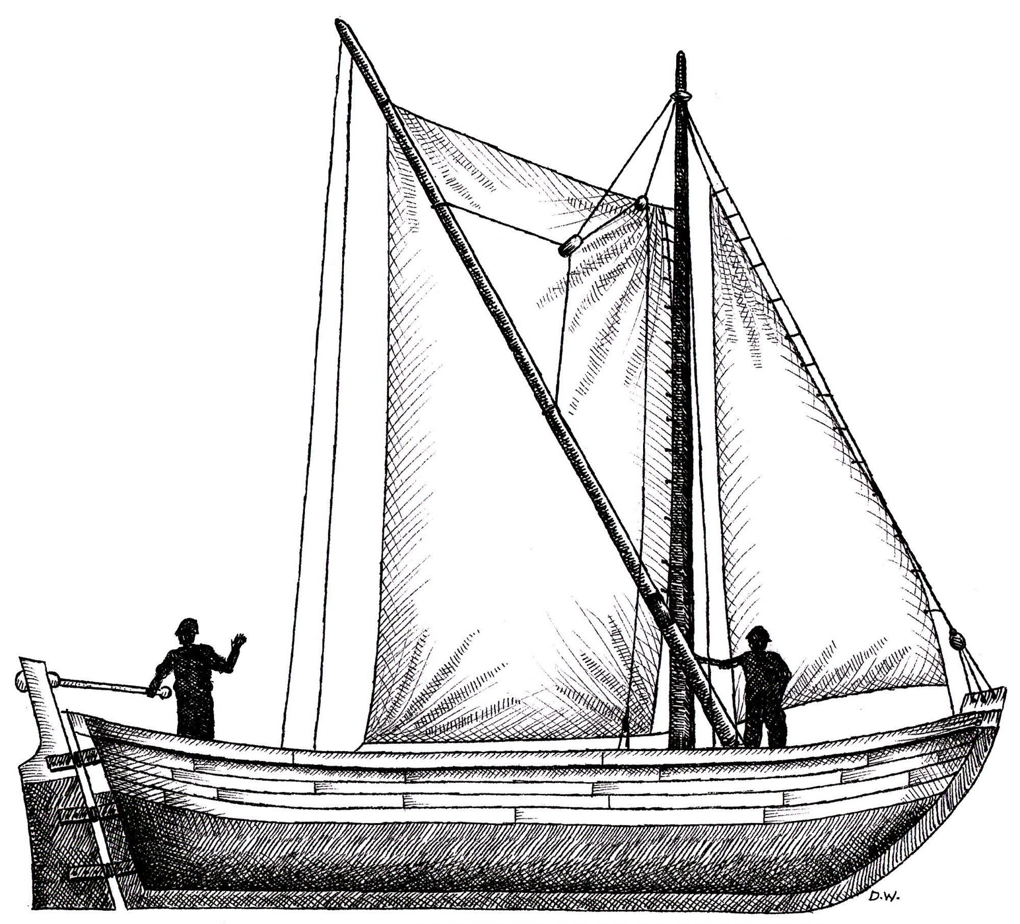 Shallop boat -- the small sailboat brought by the pilgrims on the Mayflower