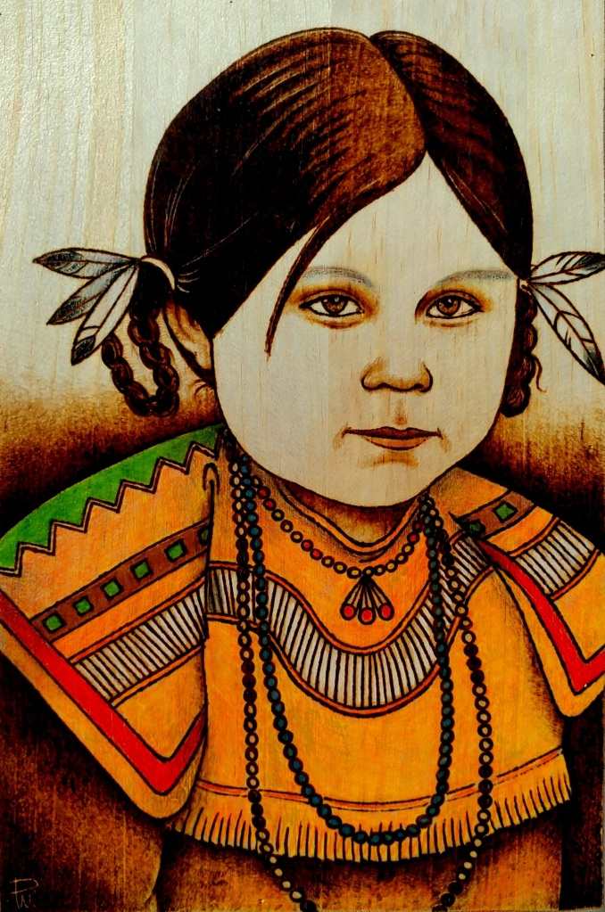 Umatilla Indian girl, done with pyrography and colored pencil.