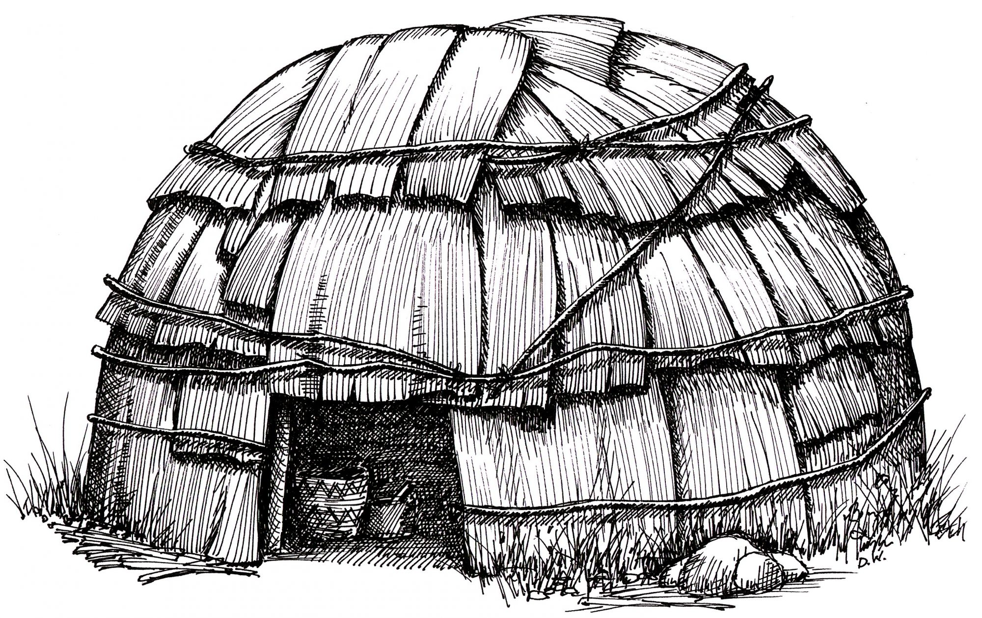Ink sketch of a Wetu, a bark-covered dome hut used by the Wampanoags.