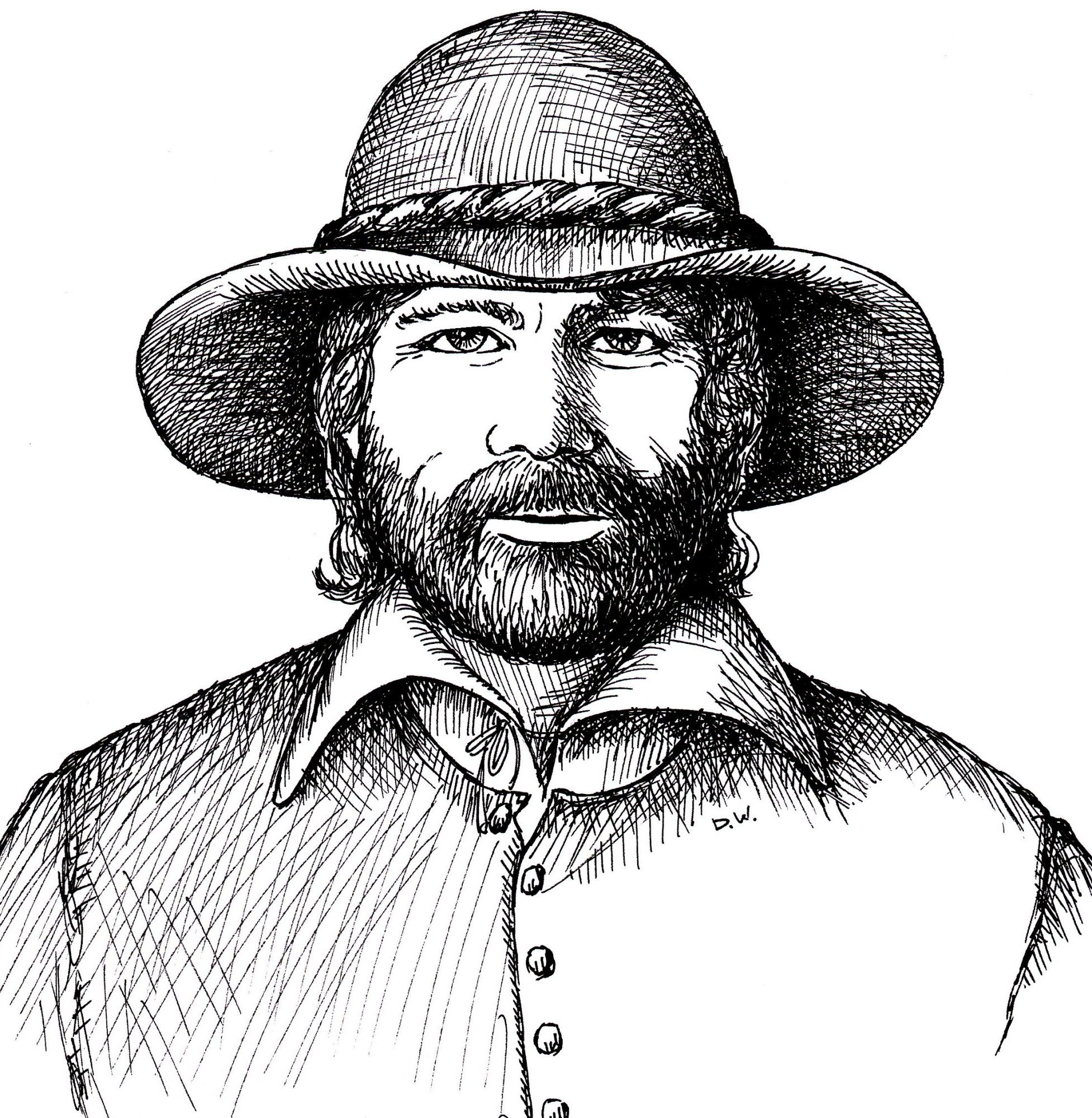 Pen and ink drawing of Governor William Bradford of Plymouth, Massachusetts